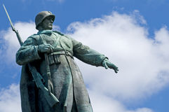 Berlin Soviet War Memorial. The imposing statue of a soldier atop the Soviet War Memorial in the Tiergarten, Berlin, Germany Stock Photography