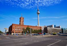 Berlin Spandauer street with Rotes Rathaus. And Berlinen Fernsehturn TV tower Stock Photos