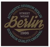 Berlin sport t-shirt design. College sport team style typography for poster, t-shirt or print royalty free illustration