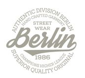Berlin sport t-shirt design. College sport team style typography for poster, t-shirt or print stock illustration