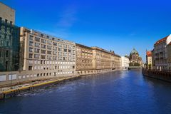 Berlin Spree river and Cathedral Dom. At the end in Germany Royalty Free Stock Photo