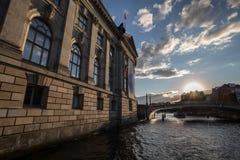 Berlin spree riverside view sundown Stock Photo