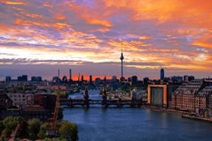 Berlin spree skyline Stock Image