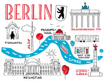 Berlin - stadens gränsmärke vektor illustrationer
