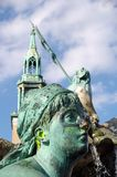 Berlin statue with zinc cream. Central statue located in monument island East Berlin attacked with zinc cream during the Oktoberfest period Stock Photo