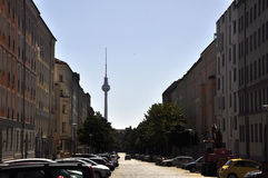 Berlin. Street, tower and cars in Berlin stock photo