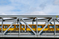 Berlin subway train U-Bahn crossing bridge in Berlin Stock Image