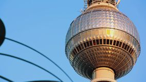 Berlin Sunrise Detail TV Tower Jupiter pass by stock video footage
