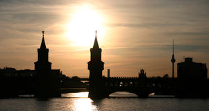 Berlin Sunset. A sunset on the river Spree in Berlin stock images