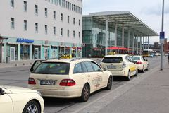 Berlin taxi. BERLIN, GERMANY - AUGUST 26, 2014: Taxi drivers wait at Ostbahnhof railway station in Berlin. There are some 7,500 taxis in Berlin Royalty Free Stock Images