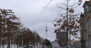 Berlin Television-Tower Berliner Fernsehturm in November Royalty Free Stock Image