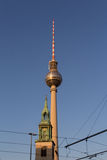 Berlin television tower (Fernsehturm),. Tv tower and church Stock Photos