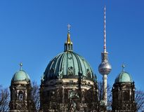 Berlin Cathedral and Television Tower tower royalty free stock photography