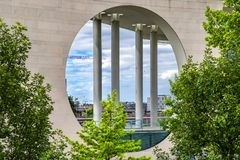 Berlin 6th july 2018 view of the building of the residence of the Bundes Kanzlerambt, also known as the washing machine Royalty Free Stock Image
