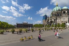 Berlin 6th july 2018 View of the museum island, with the garden,, the Dom, and the recreational people Stock Images