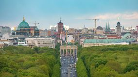 Berlin Time Lapse. Berlin city skyline timelapse at Brandenburg Gate and Tier Garden, Berlin, Germany, 4K Time lapse