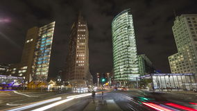 Berlin in time lapse at night stock video footage