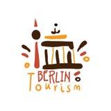 Berlin tourism logo template hand drawn vector Illustration Royalty Free Stock Photo