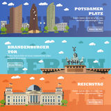 Berlin tourist landmark banners. Vector illustration with German famous buildings. Royalty Free Stock Photo