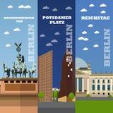 Berlin tourist landmark banners. Vector illustration with German famous buildings. Stock Photos