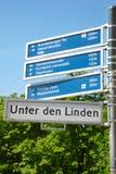Berlin touristic road sign. Unter den Linden, Berlin, Mitte district, touristic road sign Royalty Free Stock Photography
