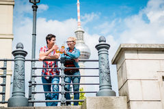 Berlin tourists enjoying view from bridge at the Museum Island Stock Photography