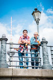 Berlin tourists enjoying view from bridge at the Museum Island Royalty Free Stock Photography