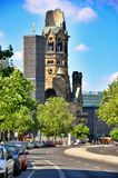 Berlin traffic and Kaiser Wilhelm Memorial Church, Berlin Germany Stock Images