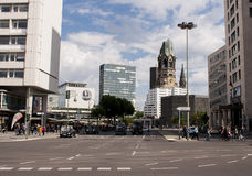 Berlin traffic and Memorial Church Stock Images
