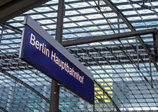 Berlin Train Station Hauptbahnhof. Berlin main train station Hauptbahnhof interior Stock Photo