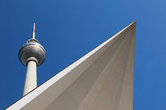 Berlin TV Tower. The roof of the entrance building crops the Berlin TV Tower stock photos