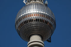 Berlin TV Tower. Closeup of the observation deck of the Berlin TV tower stock images