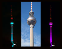 Berlin TV Tower. Collage from the Berlin TV tower at day and at night Stock Image