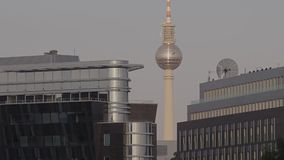 Berlin TV tower afternoon city landscape. Berlin Germany 26Th February 2016. Berlin TV tower. City landscape. modern architecture. street view. Black bird flying stock video