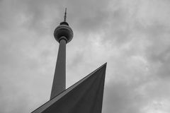 Berlin tv tower in black and white Stock Photo
