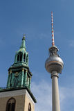 Berlin TV tower and Church Royalty Free Stock Photo