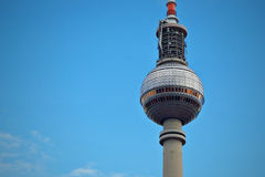 Berlin tv tower by day. The iconic top of the fernsehtrum tower in alexanderplatz Royalty Free Stock Photo