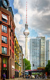 Berlin TV Tower Fernsehturm, Alexanderplatz, Germany Stock Photo