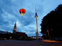 Berlin tv tower -  fernsehturm. The Berlin tv tower -  fernsehturm at night Royalty Free Stock Photos