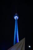 Berlin TV tower (Fernsehturm). Berlin TV tower in night illumination. The annual Festival of Lights 2014 Stock Photos