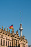 Berlin, Tv tower ,historic building Zeughaus and german flag Royalty Free Stock Photo