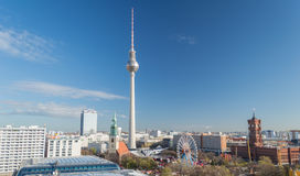 Berlin TV Tower. Berlin-Mitte cityscape with the landmark Fernsehturm (tv tower) in the center in Berlin, Germany Stock Images