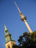 Berlin TV Tower and St. Mary's Church Royalty Free Stock Photos