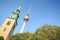 The Berlin TV tower and St. Mary's Church Royalty Free Stock Images