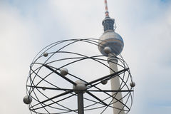 Berlin TV Tower and world clock Stock Photography