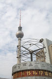 Berlin TV Tower with world time clock Royalty Free Stock Image