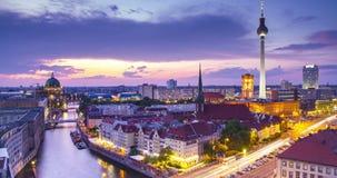 Berlin twilight skyline during sunset time lapse, Germany