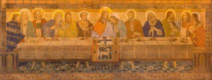 BERLIN TYSKLAND, FEBRUARI - 16, 2017: Freskomålningen av den sista kvällsmålet i evengelical kyrka för St Pauls Royaltyfria Bilder