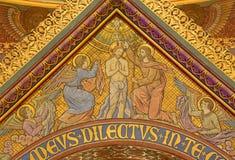 BERLIN TYSKLAND, FEBRUARI - 15, 2017: Freskomålningen av dopet av Kristus i St John den baptistiska basilikan Johannes Basilika Royaltyfria Bilder