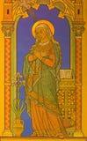 BERLIN TYSKLAND, FEBRUARI - 15, 2017: Freskomålningen av jungfruliga Mary som detaljen av förklaringen i den Rosenkranz basilikan Royaltyfri Fotografi